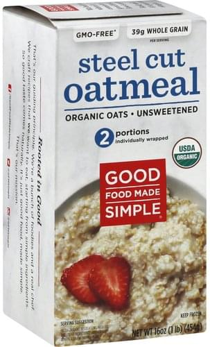 Good Food Made Simple Organic, Unsweetened, Steel Cut Oatmeal - 16 oz