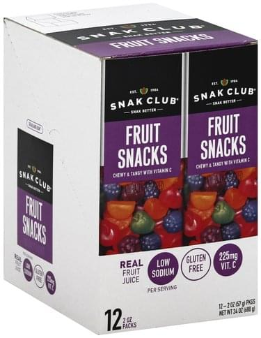 Snak Club Grab and Run, 12 Pack Fruit Snacks - 12 ea