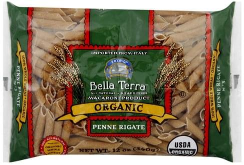 Bella Terra Organic, 100% Whole Wheat Penne Rigate - 12 oz