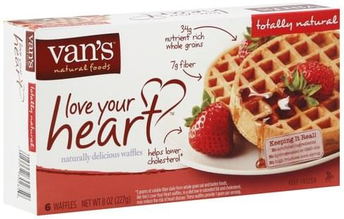 Vans Love Your Heart, Totally Natural Waffles - 6 ea