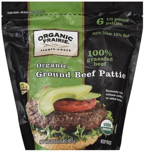 Organic Prairie Organic Ground Beef Patties - 6 ea