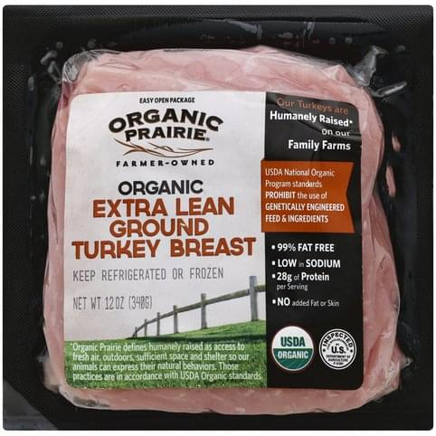 Organic Prairie Organic, Extra Lean, Ground Turkey Breast - 12 oz