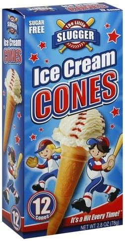 Little Slugger Sugar Free Ice Cream Cones - 12 ea