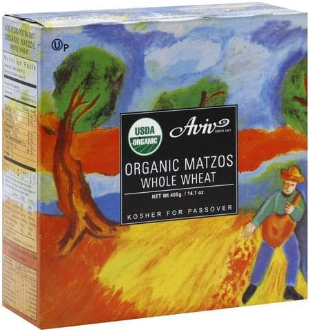 Aviv Organic, Whole Wheat Matzos - 14.1 oz