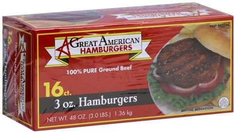 Great American Hamburgers 3 oz Hamburgers - 16 ea