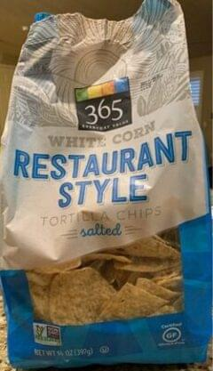 NA Salted white corn restaurant style tortilla chips, salted