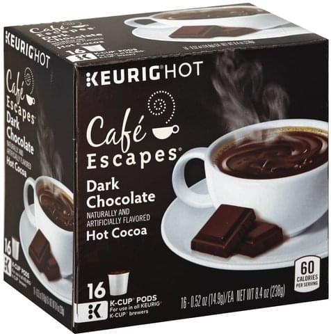 Cafe Escapes Dark Chocolate K Cup Pods Hot Cocoa 16 Ea