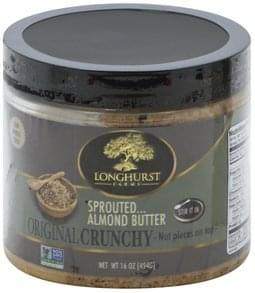 Longhurst Farms Almond Butter Original, Crunchy, Sprouted