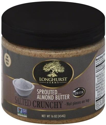 Longhurst Farms Sprouted, Crunchy, Salted Almond Butter - 16 oz
