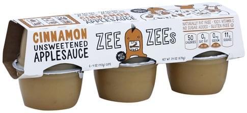 Zee Zees Unsweetened, Cinnamon Apple Sauce - 6 ea