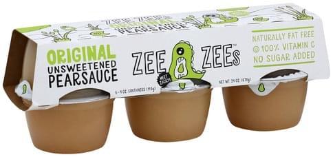 Zee Zees Unsweetened, Original Pear Sauce - 6 ea