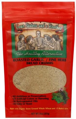 Four Sisters And A Brother Roasted Garlic/Fine Herb Bread Crumbs - 8 oz