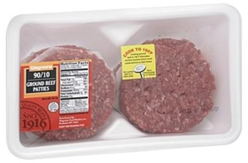 Wegmans Ground Beef Patties, 90/10 Ground Beef Patties - 1 lb