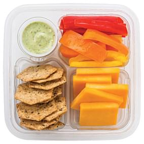 Wegmans Crackers Peppers with Cheddar Cheese, Whole Grain Crackers & Yogurt Ranch Dip