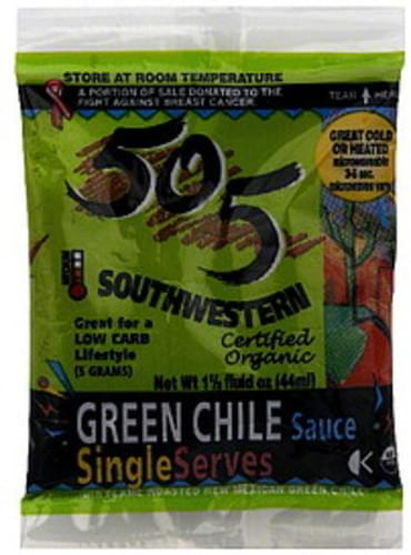 505 Southwestern Organic, Single Serves, Medium Green Chile Sauce - 1.5 oz