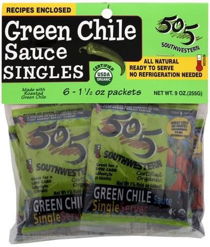 505 Southwestern Medium, Singles Green Chile Sauce - 6 ea