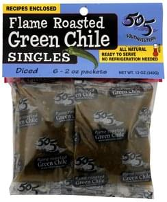 505 Southwestern Flame Roasted Green Chile Medium, Diced, Singles