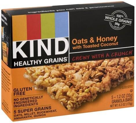 Kind Oats & Honey, with Toasted Coconut Granola Bars - 5 ea