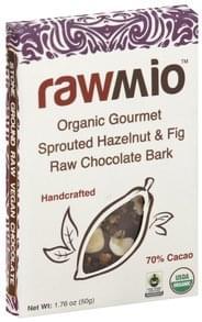 RawMio Chocolate Bark Gourmet Raw, Organic, Sprouted Hazelnut & Fig, 70% Cacao