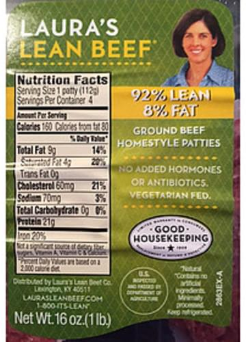 Laura's Lean Beef Ground Beef Homestyle Patties - 112 g