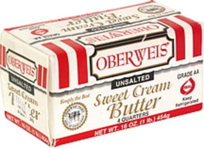 Oberweis Sweet Cream Butter Unsalted, 4 Quarters