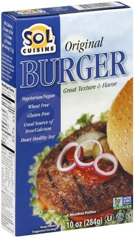 Sol Cuisine Original, Meatless Patties Burger - 4 ea