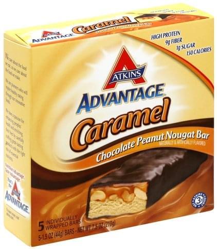 Atkins Caramel Chocolate Peanut Nougat Bar - 5 ea