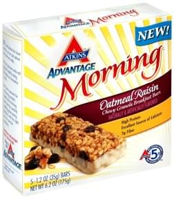 Atkins Chewy Granola Breakfast Bars Oatmeal Raisin