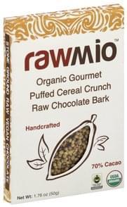 RawMio Chocolate Bark Gourmet Raw, Organic, Puffed Cereal Crunch, 70% Cacao