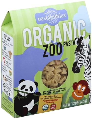 Pastabilities Organic, Zoo Shapes Pasta - 12 oz