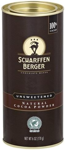 Scharffen Berger Natural, Unsweetened, 100% Cacao Cocoa Powder - 6 oz