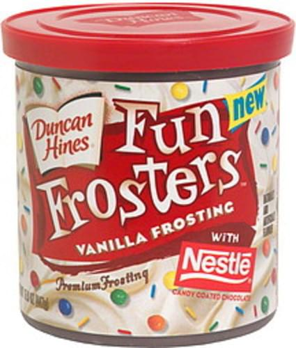 Duncan Hines Vanilla Frosting with Nestle Candy Coated