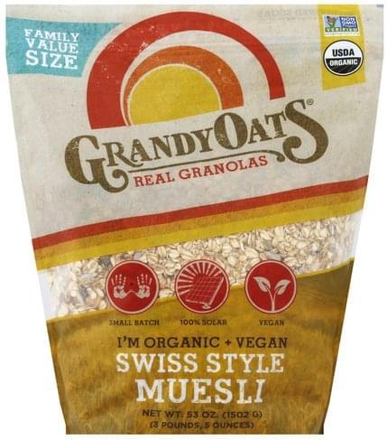 GrandyOats Swiss Style Muesli, Family Value Size Granola - 53 oz