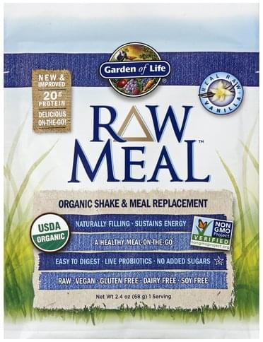 Garden of Life Organic, Real Raw Vanilla Shake & Meal Replacement - 2.4 oz