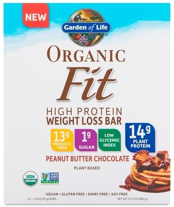 Garden of Life Organic Fit Protein Bars, Peanut Butter Chocolate - 12 pa