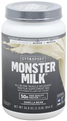 CytoSport Monster Milk, Vanilla Bean Protein Supplement Mix - 36.8 oz