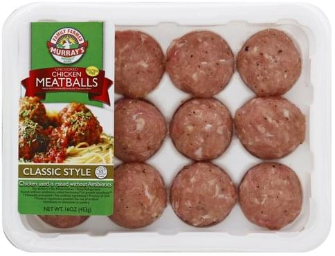 Murrays Chicken, Uncooked, Classic Style Meatballs - 16 oz