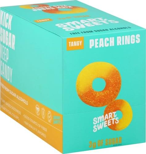 Smart Sweets Tangy, Peach Rings Candy - 12 ea