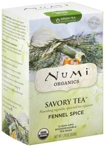 Numi Green Tea Fennel Spice, Decaffeinated, Tea Bags