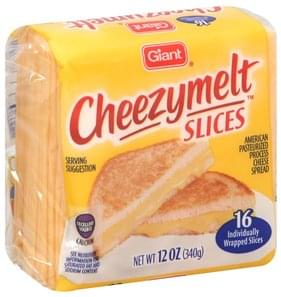 Giant Cheese Spread Pasteurized Process, American Cheezymelt, Slices