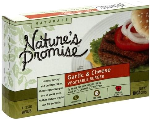 Natures Promise Garlic & Cheese Vegetable Burger - 4 ea