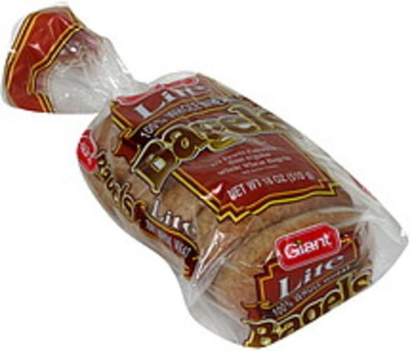 Giant Lite, 100% Whole Wheat Bagels - 18 oz