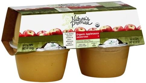 Natures Promise Organic, Unsweetened Applesauce - 4 ea