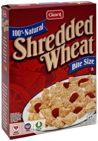 Giant Shredded Wheat, 100% Natural, Bite Size Cereal - 17.2 oz
