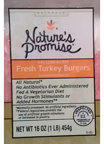 Nature's Promise Naturals Fresh Turkey Burgers - 112 g