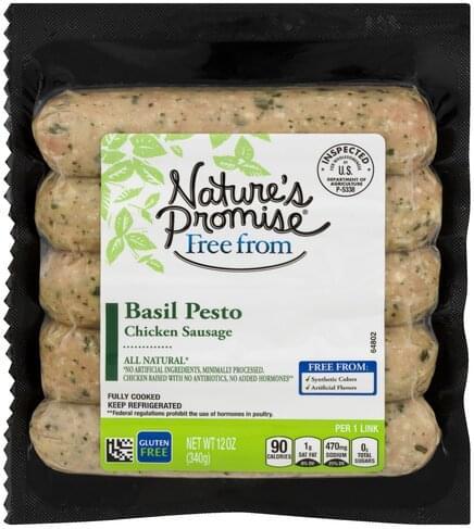 Natures Promise Basil Pesto Chicken Sausage - 12 oz