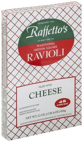 Raffettos Traditional, Cheese, Medium Square Ravioli - 48 ea