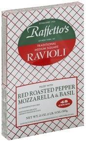 Raffettos Ravioli Traditional, Red Roasted Pepper Mozzarella & Basil, Medium Square