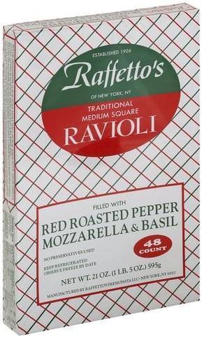 Raffettos Traditional, Red Roasted Pepper Mozzarella & Basil, Medium Square Ravioli - 48 ea
