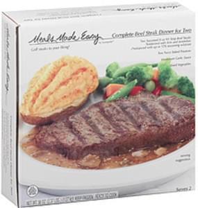 Meals Made Easy Complete Beef Steak Dinner NY Strip/Twice Baked Potatoes/Mushroom Garlic Sauce & Mixed Vegetables For Two